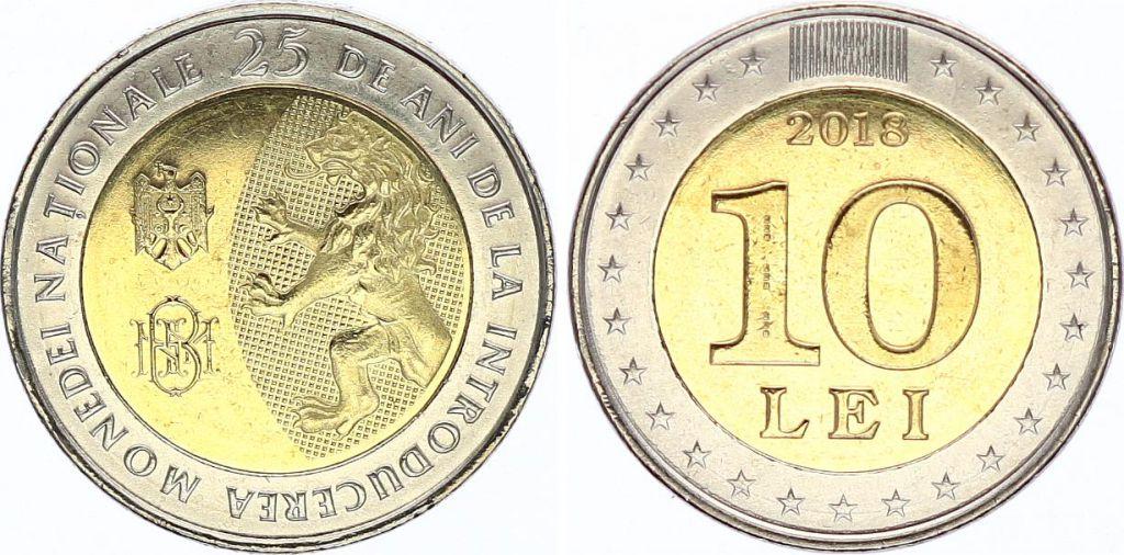 Moldavie 10 Lei 2018 - 25 ans de la Monnaie Nationale - Bimétal