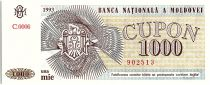 Moldavie 1000 Cupon Bleu et Jaune - 1993