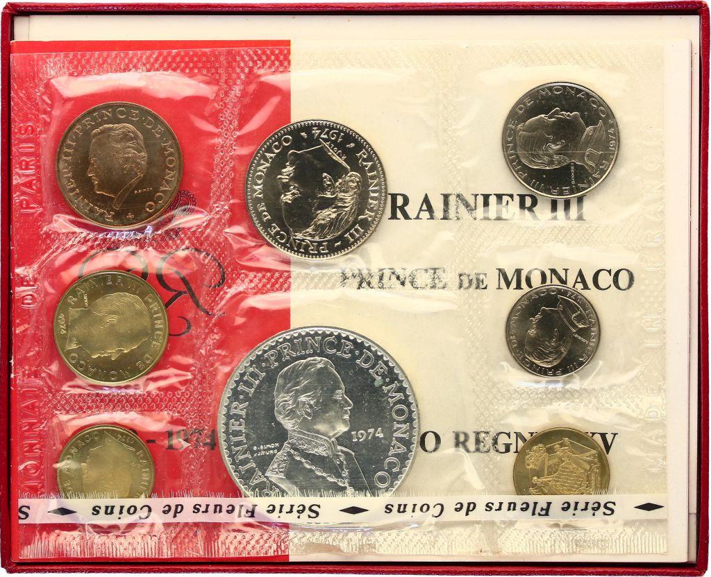 Monaco  Set of 8 coins Rainier III - 1949-1974 - 25 yeras of Reign