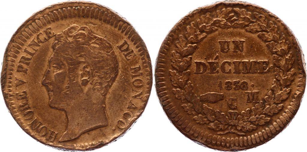 Monaco 1 Décime Honoré V - 1838 MC - décentrée