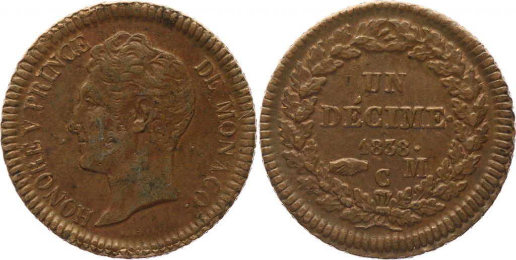 Monaco 1 Décime Honoré V - 1838 MC