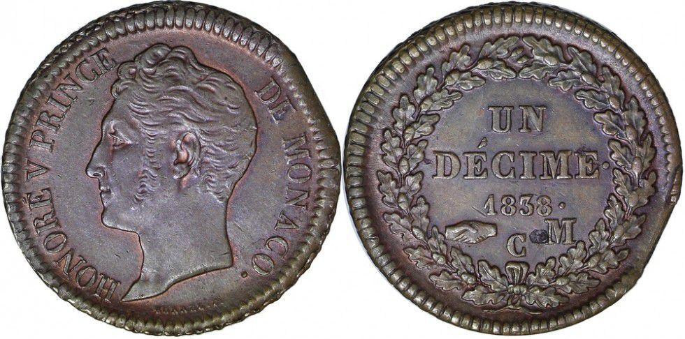 Monaco 1 Décime Honoré V - Tête large 1838 M Monaco