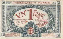 Monaco 1 Franc - Arms - 1920 - Serial E