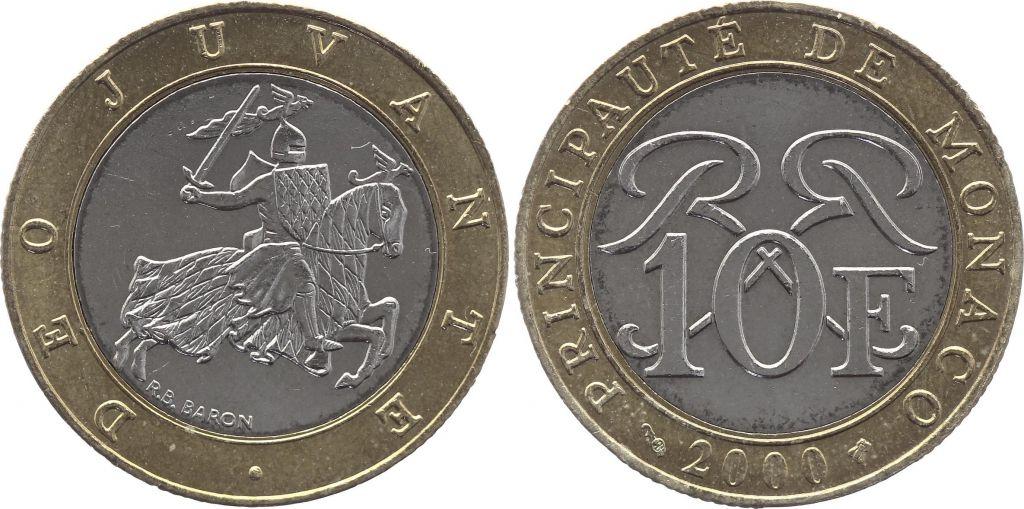 Monaco 10 Francs  Chevalier - 2000 - Bimétal - TTB+