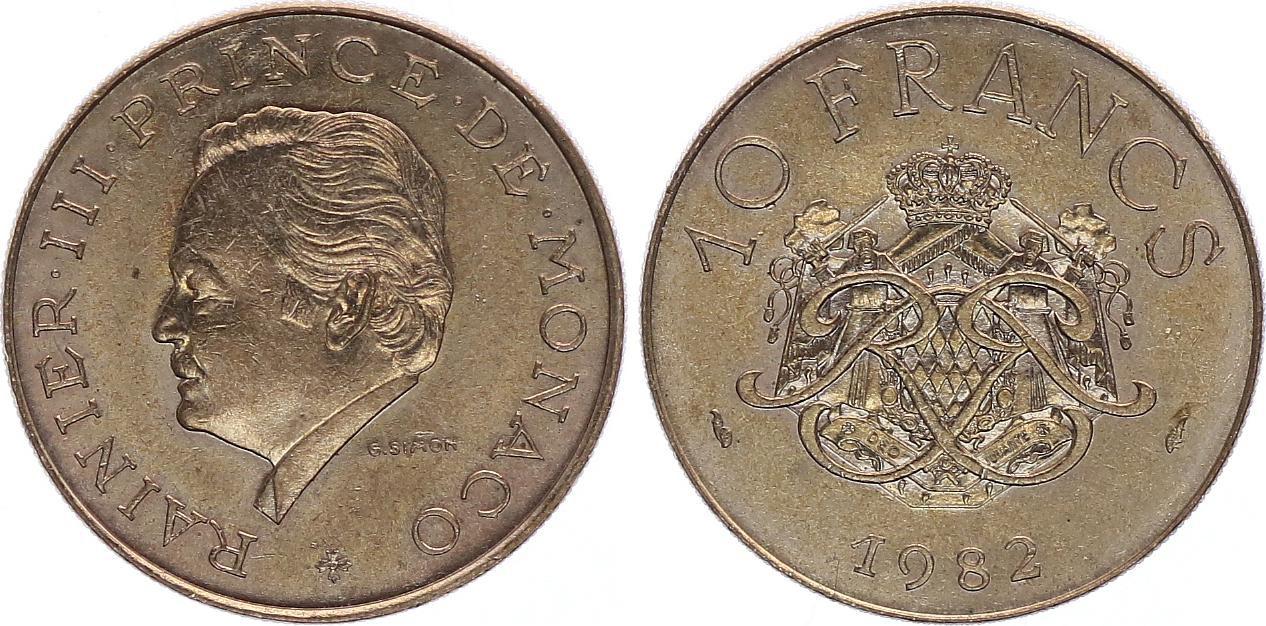 Monaco 10 Francs  Rainier III - Armoiries - 1982