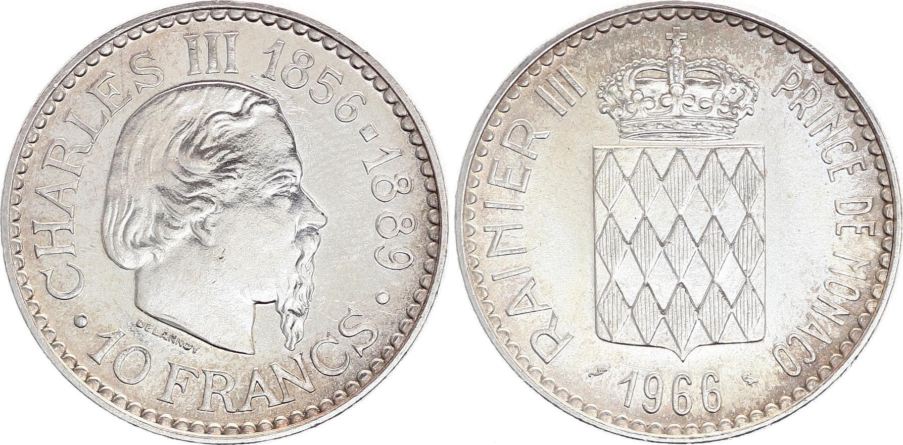 Monaco 10 Francs Charles III  - 1966 - SUP - Argent