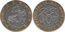 Monaco 10 Francs Knight - 2000 - Bimetal - VF to XF  KM.163