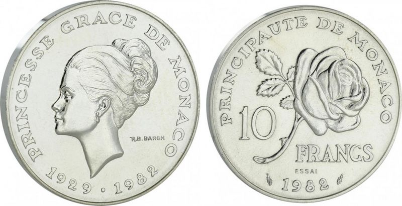 Monaco 10 Francs Princesse Grace - 1982 pattern Silver