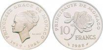Monaco 10 Francs Princesse Grace - 1982 PIEFORT Silver