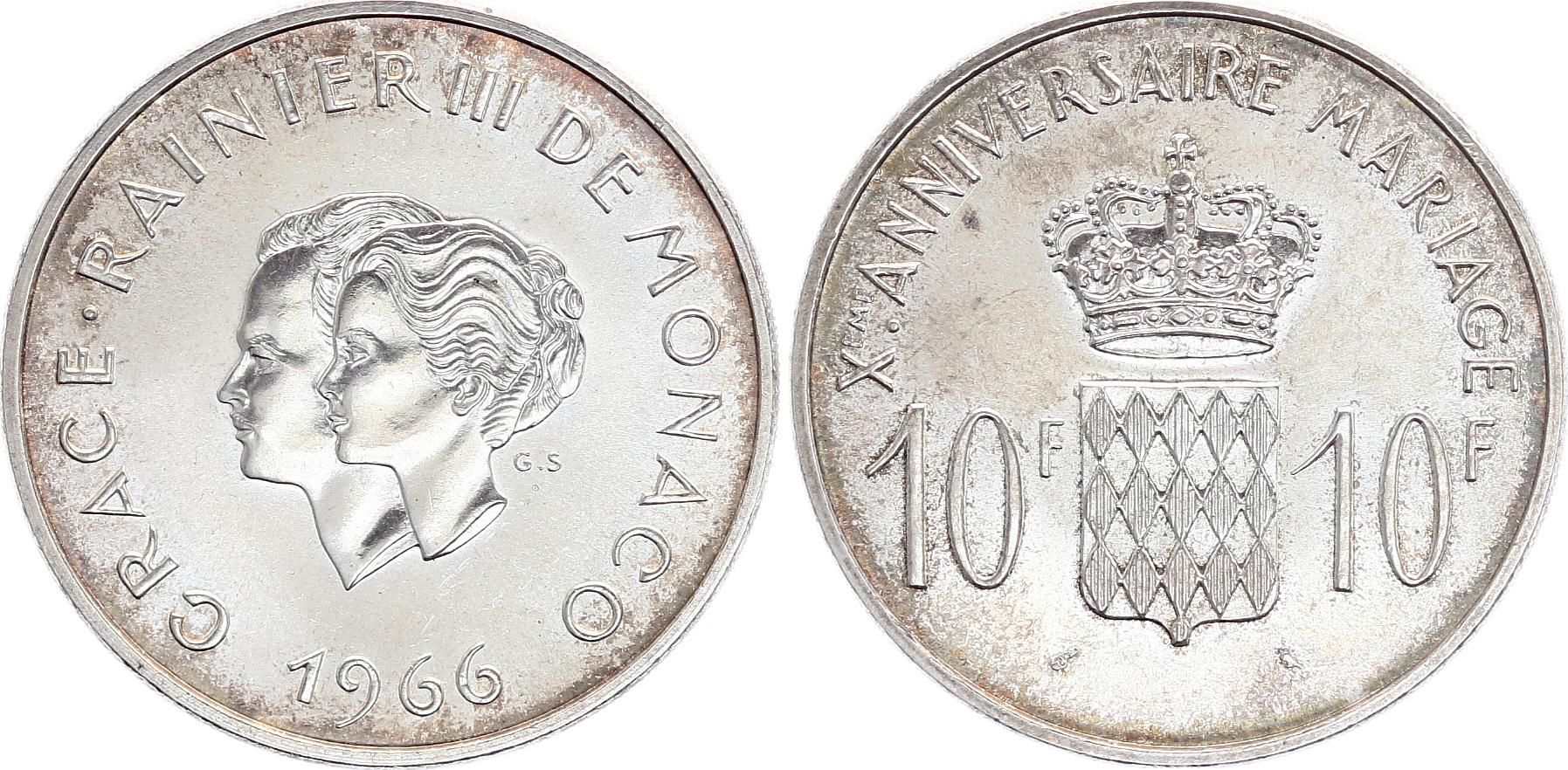 Monaco 10 Francs Rainier III Grace Kelly - Mariage - 1966 - SUP