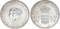Monaco 10 Francs Rainier III Grace Kelly - Wedding - 1966 - XF