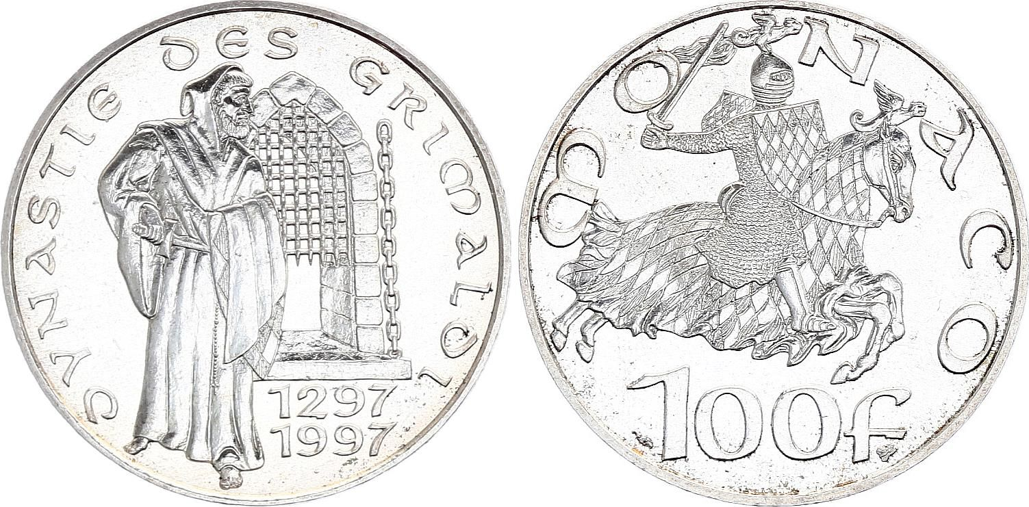 Monaco 100 Francs 700 ans de Règne des Grimaldi - 1997 - Argent