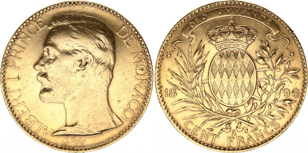 Monaco 100 Francs Albert I - Armoiries 1896 A Paris