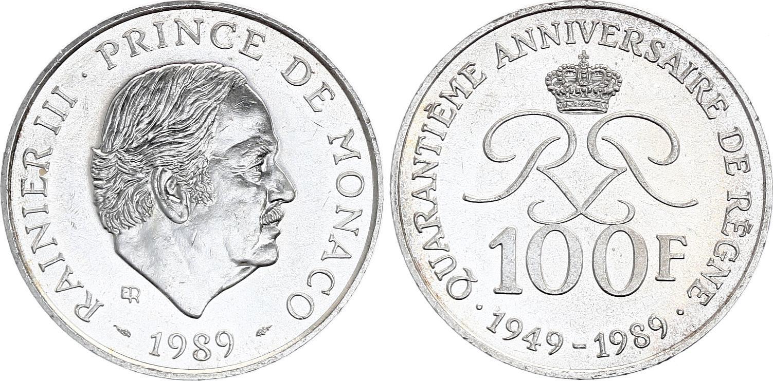 Monaco 100 Francs Rainier III - 1989 - Argent