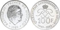 Monaco 100 Francs Rainier III - 1989 - Silver