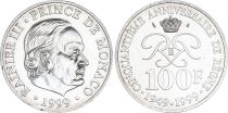 Monaco 100 Francs Rainier III - 50 years of Reign 1949-1999 - Silver