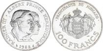 Monaco 100 Francs Rainier III et Albert - 1982-  Argent