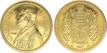 Monaco 20 Francs Louis II - 1947 - Or - Essai - FDC - Tirage : 180 ex
