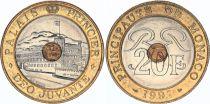 Monaco 20 Francs Prince\'s Palace - Bimetal - VF to XF  1992 to 1997