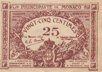 Monaco 25 Centimes Brown - View of Monaco - 1920