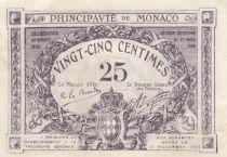 Monaco 25 Centimes Purple - View of Monaco - 1920