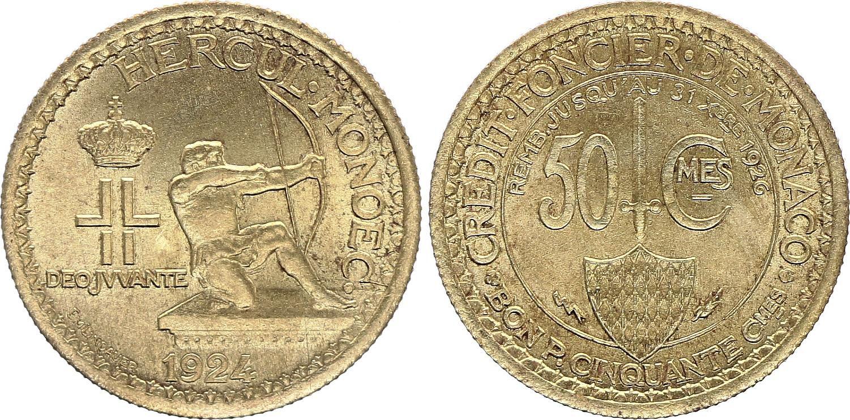 Monaco 50 Centimes Héraclès Archer - 1924 - Poissy