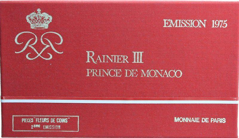 Monaco FDC.1975 Série 7 pièces FDC Rainier III - 1975