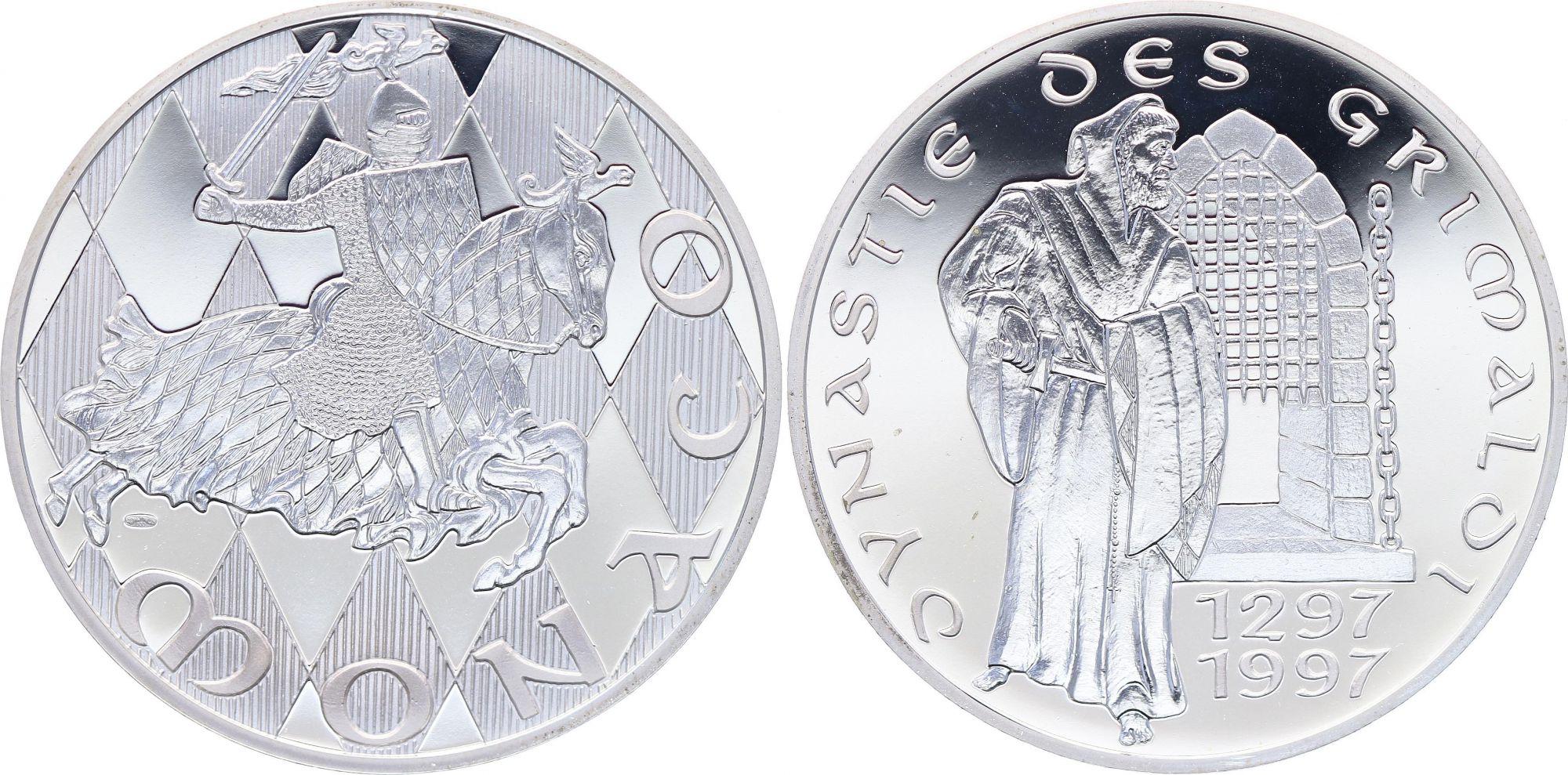 Monaco Medal - 700 years of Grimaldi - 1297-1997 - Silver