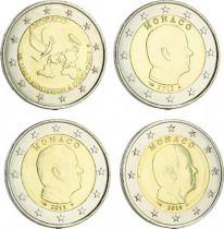 Monaco Série 4 pièces de 2 euros 2012-2013-2014-2015