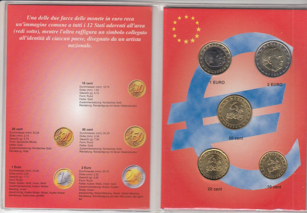 Monaco Set of 5 coins in euros Rainier III - 2003