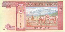 Mongolie 20 Tugrik Sukhe-Bataar - Chevaux