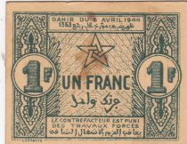 Morocco 1 Franc, Cherifian Empire - 06.04.1944 - VF - P.42