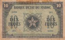 Morocco 10 Francs - 01-05-1943 - Fine - Serial Q.269- P.25a
