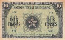 Morocco 10 Francs - 01-05-1943 - VF - Serial A.241 - P.25a