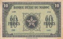 Morocco 10 Francs - 01-05-1943 - VF - Serial U.45 - P.25a