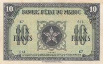 Morocco 10 Francs - 01-05-1943 - XF - Serial E.7 - P.25a