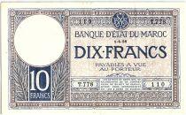 Morocco 10 Francs 01-04-1926 - VF - Serial T.778 - P.11b