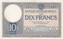 Morocco 10 Francs 01-04-1926 - XF - Serial K.691-524 - P.11b