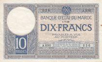 Morocco 10 Francs 01-07-1928 - VF - Serial A.890 - P.11b