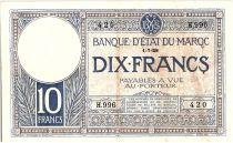 Morocco 10 Francs 01-07-1928 - VF - Serial H.996 - P.11b
