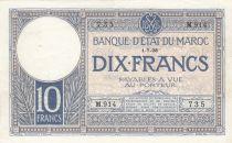 Morocco 10 Francs 01-07-1928 - VF - Serial M.914-735 - P.11b