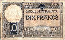 Morocco 10 Francs 06-03-1941 - Fine - Serial E.1719 - P.17b