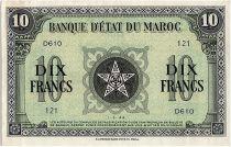 Morocco 10 Francs Vert et Noir- 1944