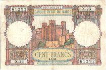 Morocco 100 Francs - Ksar d\'Aït-ben-haddou - 09-01-1950 - VF - Serial X.23 - P.45