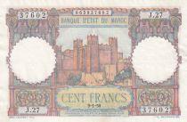 Morocco 100 Francs - Ksar d\'Aït-ben-haddou - 09-01-1950 - XF - Serial J.27- P.45