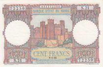 Morocco 100 Francs - Ksar d\'Aït-ben-haddou - 09-01-1950 - XF - Serial S.21 - P.45