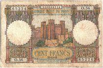 Morocco 100 Francs - Ksar d\'Aït-ben-haddou - 22-12-1952 - Fine - Serial O.56 - P.45
