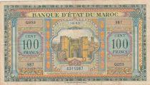 Morocco 100 Francs - Meknes -  1943 - VF - Serial Q.253 - P.27