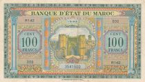 Morocco 100 Francs - Meknes -  1943 - VF to XF  - Serial R.142 - P.27