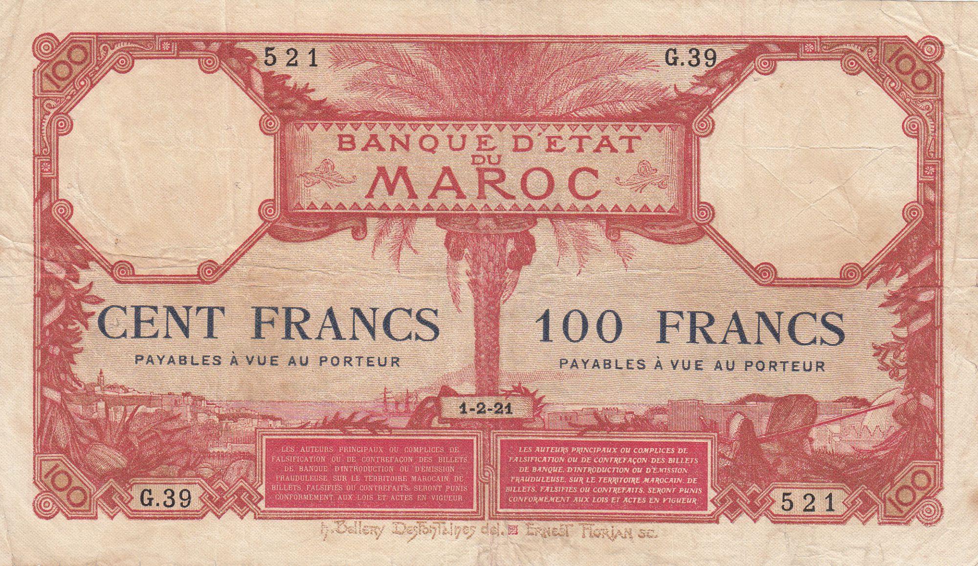 Morocco 100 Francs 01-02-1921 - VF - Serial G.39 - P.14